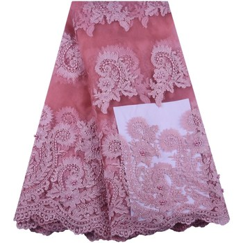 2019 Latest Pink Nigerian Lace Fabrics High Quality African Lace Fabric For Wedding Dresses French Tulle Lace With Beads S1575