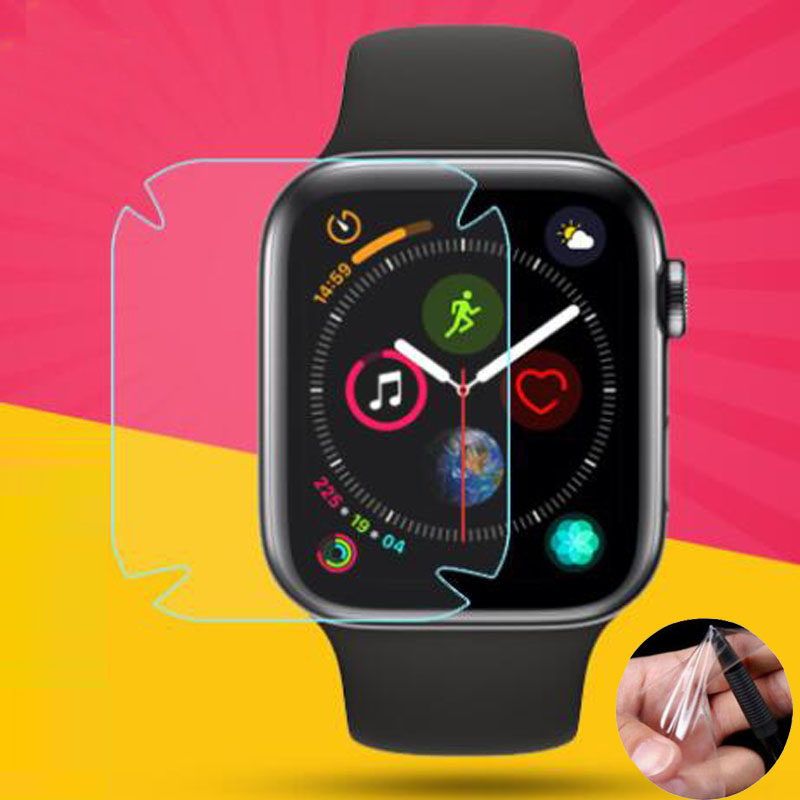 2pc TPU (Not Glass Soft Clear Full Edge Cover Protective Film For Iwatch Apple Watch Series 4 5 40mm 44mm Screen Protector Guard