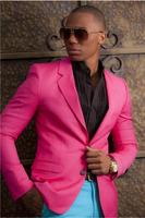 New Fashion Hot Pink Men Suits Blazer With Blue Pants Custom YOung Men Tuxedo For Wedding Party Casual Prom (Jacket+Pant)