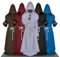 Friar Medieval Cowl Hooded Monk Renaissance Priest Robe Costume Cosplay Halloween