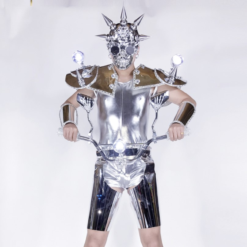 carnival stage performance space silver Mirror led clothes conical armor costume motobike man led costumes
