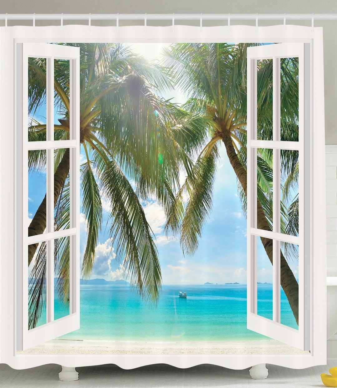 Ocean Decor Shower Curtain By Palm Trees Tropical Island