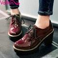 VALLKIN Atan Para Arriba Mujer de Charol Zapatos de Tacón Alto Gruesas Botines de Plataforma Punta Redonda Botas Cortas Zapatos de LA PU Tamaño 34-43