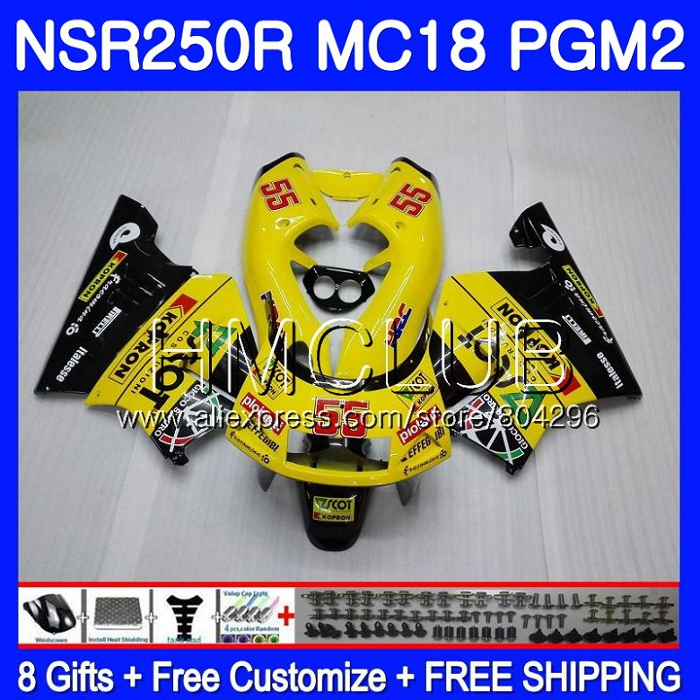 Kit For HONDA <font><b>NSR</b></font> <font><b>250</b></font> R MC18 yellow black PGM2 <font><b>NSR</b></font> 250R NS250 NSR250R 88 89 93HM.12 NSR250 R RR NSR250RR 1988 1989 88 89 Fairing image