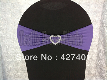 Hot Sale Dark Purple Spandex Bands / Lycra Band /Chair Covers Sash With Heart Shape Buckle For Wedding & Banquet