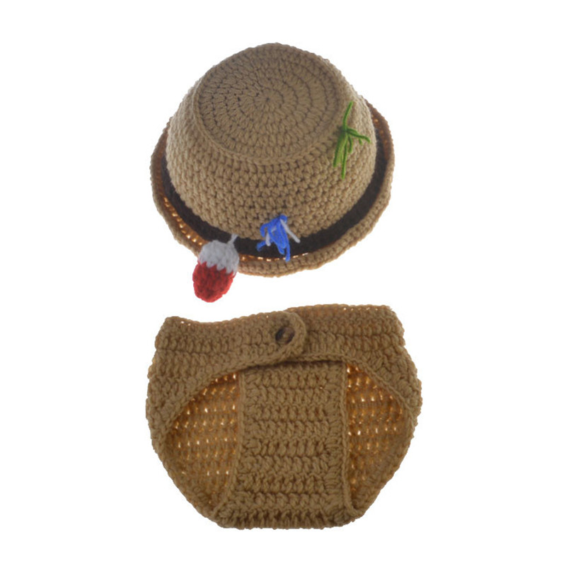 Для новорожденных рыбак шляпу и Брюки для девочек комплект крючком реквизит для фотосессии крючком для маленьких мальчиков Рыбалка outift сво...