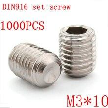 1000 шт./компл. DIN916 m3 * 10 m3x10 3 мм Метрическая резьба из нержавеющей стали, винты с шестигранной головкой, набор винтов без головки