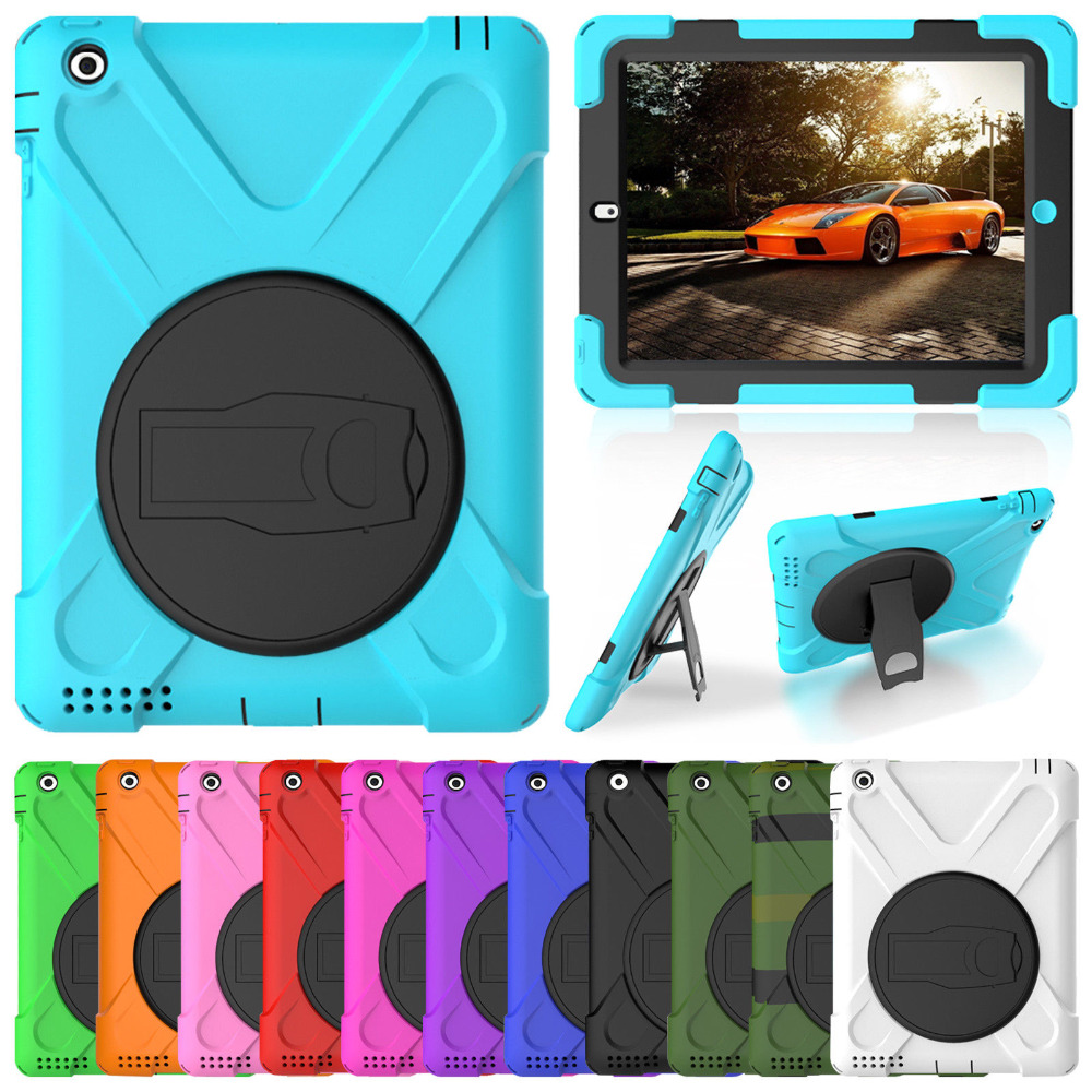 Case For Apple iPad Pro 9.7 Kids Safe Shockproof Soft Silicone Stand Armor Stand Back Cover Case