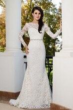 Romantic Long Sleeves Wedding Dress Scoop U-back Brush Train Vintage Mermaid Vestido De Noiva NM 550