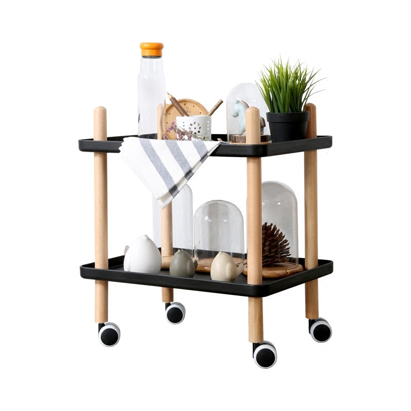 Minimalist Modern Creative Dining Car Household Coffee Table Tea Table  Mobile Receive 2 Layer Wooden Multi Function Little Cart In Coffee Tables  From ...