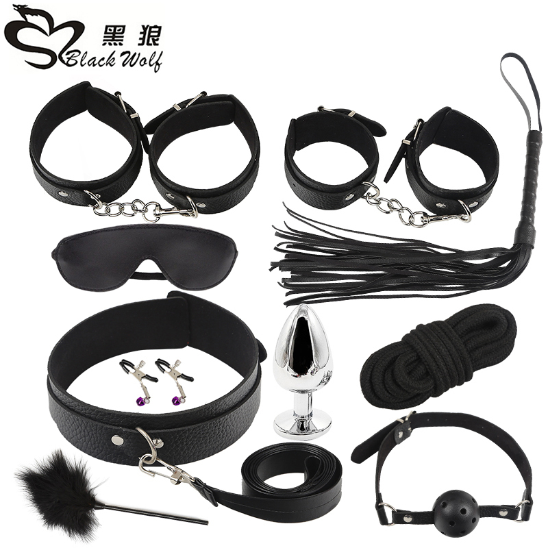 PU Leather 10pcs BDSM Sex set whip,Handcuffs Adult bundle game Rope Blindfold Erotic Sex Toys For Couples Angl Plug Gift PU Leather 10pcs BDSM Sex set whip,Handcuffs Adult bundle game Rope Blindfold Erotic Sex Toys For Couples Angl Plug Gift