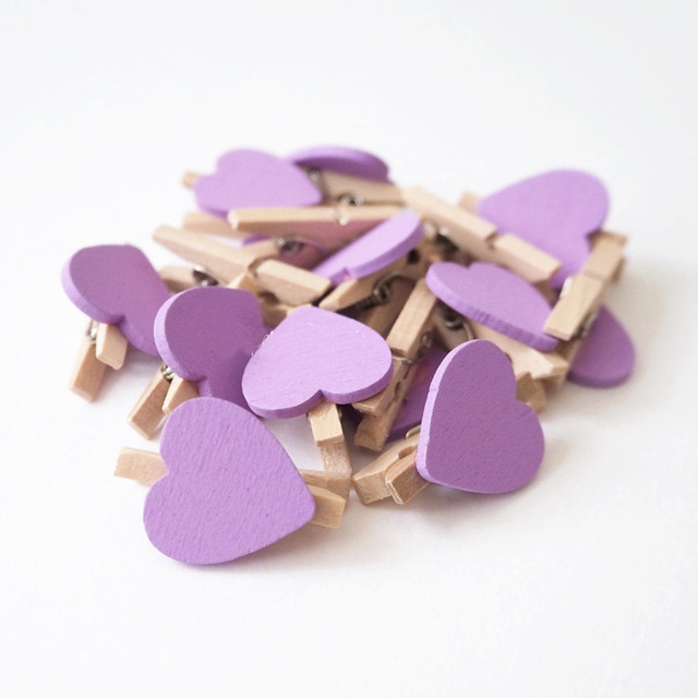 50 Pieces Mini Wooden Purple Love Heart Peg Clip For Party Garlands And Favours Baby Shower