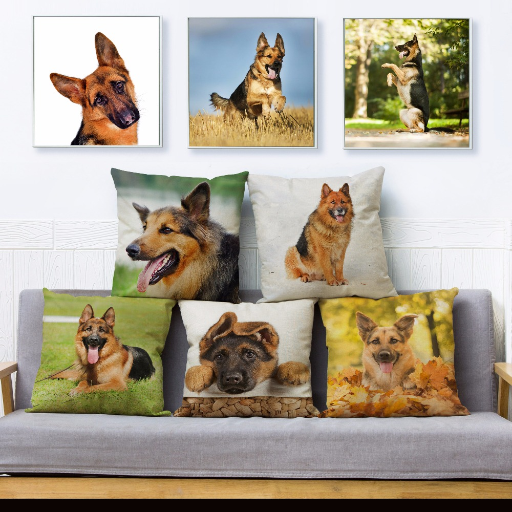 Clever German Shepherd Dog Print Throw Pillow Cover 45*45 Square Cushion Covers Linen Pillows Cases Sofa Home Decor Pillow Case