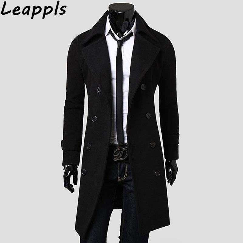 Leappls 3XL Mens Trench Coat 2018 New Fashion Designer Men Long Coat Autumn Winter Double-breasted Windproof Slim Trench Coat