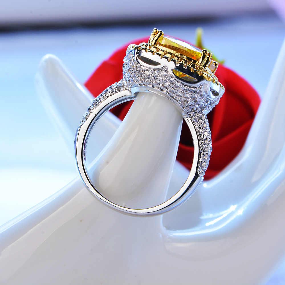 Vecalon ครบรอบแหวนผู้หญิงตัด 4CT AAAAA Zircon CZ สีขาวสีเหลืองทองหญิงหมั้นแหวน