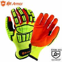ANSI A5, устойчивые к порезам, анти-ударные, вибрационные, масляные, TPR, безопасные рабочие перчатки, анти-вырезанные ударные механики, ударопро...