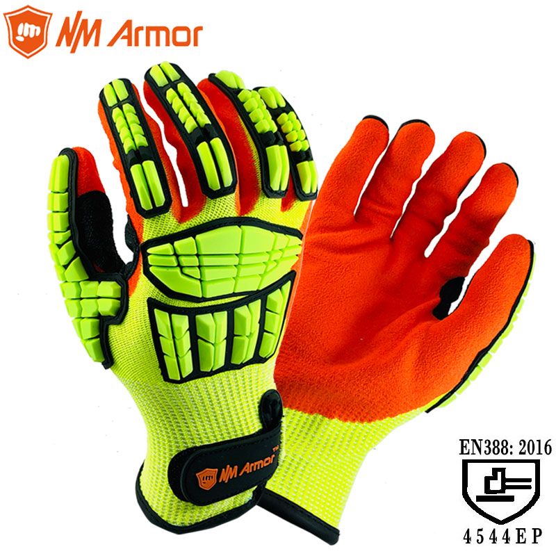 ANSI A5 Cut Resistant Anti Impact Vibration Oil TPR Safety Working Glove Anti Cut Proof Shock Mechanics Impact Resistant Gloves