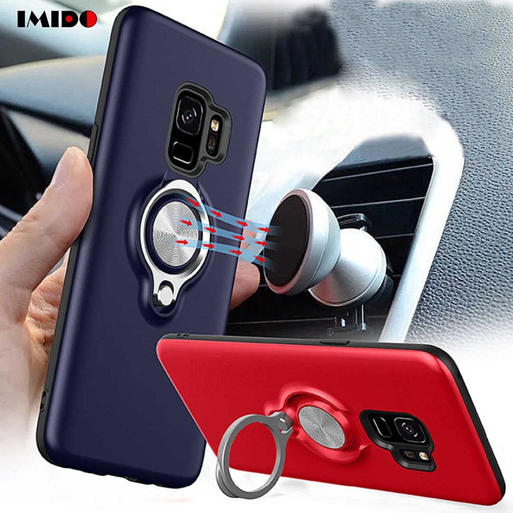 IMIDO Magnetic Phone <font><b>Case</b></font> For <font><b>Samsung</b></font> <font><b>Galaxy</b></font> Note9 8 S9 S8 Plus S7 Edge <font><b>A8</b></font> <font><b>2018</b></font> Hide Ring Stand Holder TPU Back Cover Coque Capa image