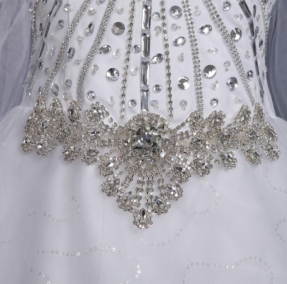 Image 5 - 2019 New Luxury Big Train Wedding Dress Sexy Crystals Beaded Bridal Gown Custom made Plus Size Wedding Gown-in Wedding Dresses from Weddings & Events