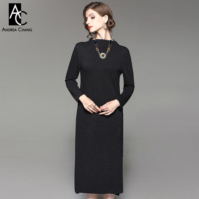 Autumn Winter Woman Dress Black Calf Length Dress Stand Collar Long