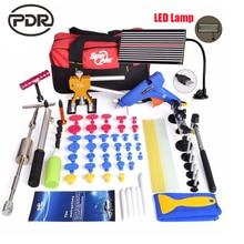 PDR Paintless Dent Repair Tools For Car Kit Дент Удаления инструменты СВЕТОДИОДНАЯ Лампа Рефлектор Доска Клей Вкладки Ручной Инструмент Наборы Ferramentas