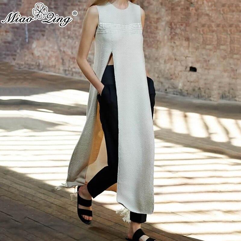 MIAOQING chemises de style Coréen femmes 2018 Mode Fente Longue T-shirt Ulzzang Gland tops harajuku chemise Femelle Vêtements off blanc