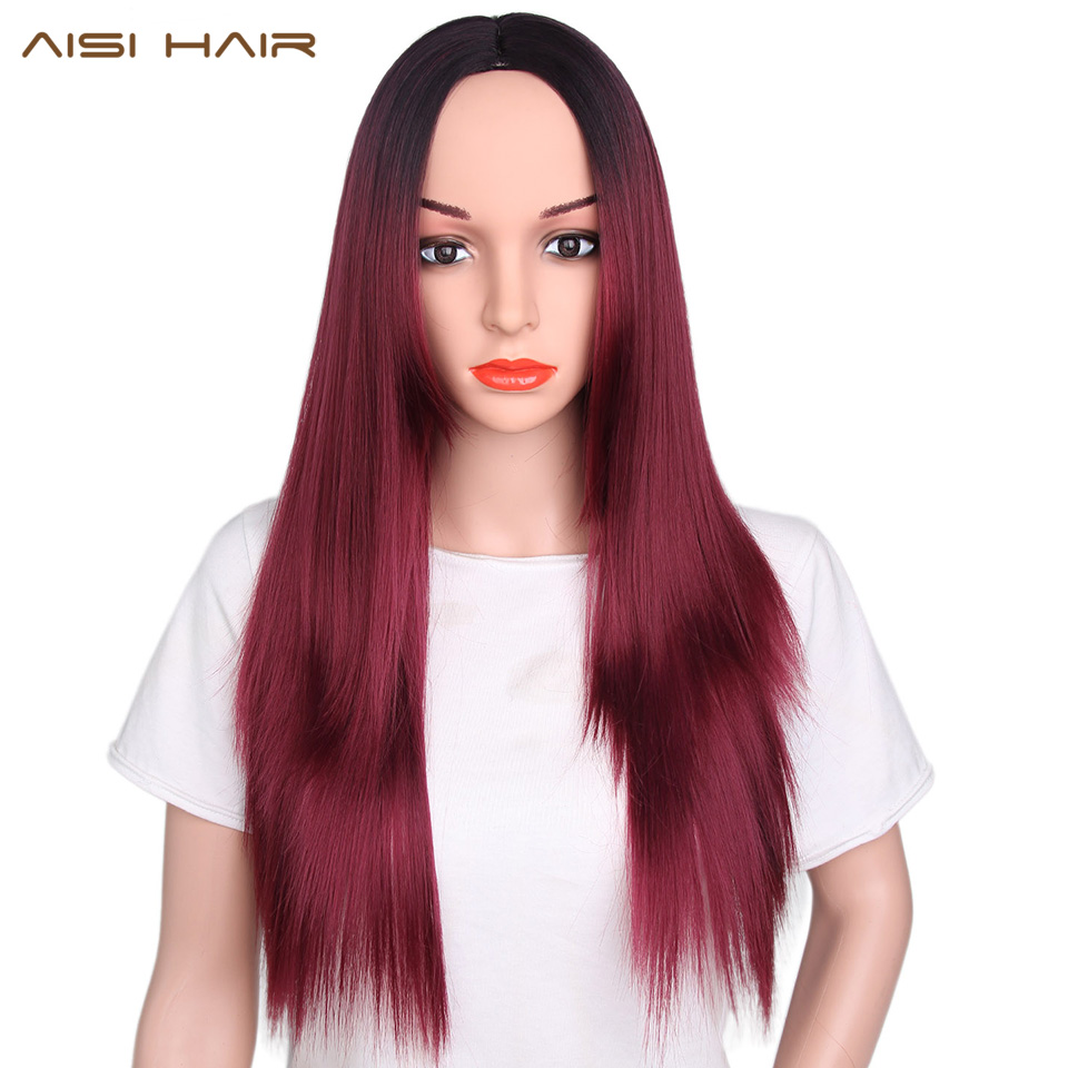 AISI שיער סינתטי אמבר אדום פאות עבור נשים שחורות הישר ארוך Cosplay שיער אפור חינם משלוח יכול להיות מסולסל