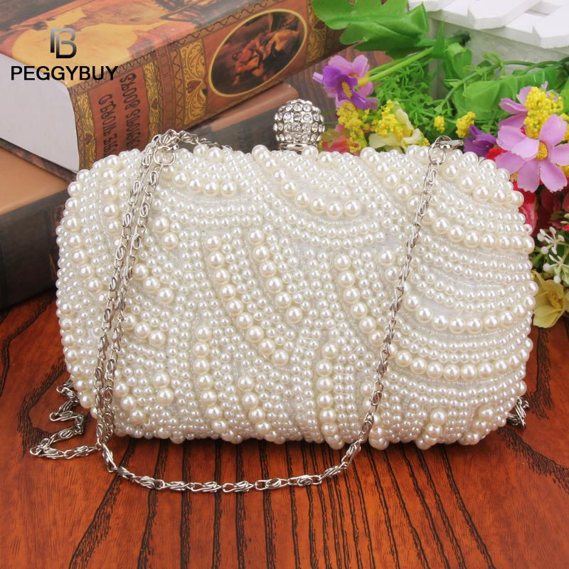 FashFashion Luxury Crystal Pearl White Evening Clutch Bags Women Elegant Minaudiere Handbag Wedding Party Lady Purse Bag Hot