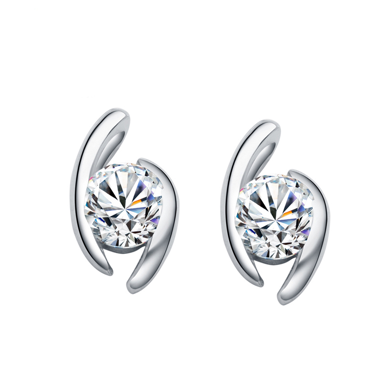 купить 1 Carat Round Brilliant Cut Moissanite Genuine 18K Solid White Gold Stud Earrings For Women Wedding Christmas Gift по цене 36105.99 рублей