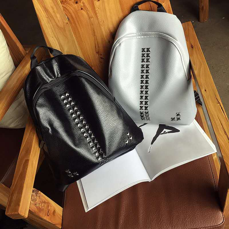 Anti theft backpack 2017 PU fashion Backpack Leisure travel bag Mochila girls bag Rivet New Travel Bag Women Bags Preppy Style