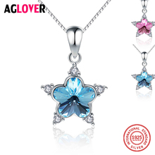 AGLOVER 100% Real 925 Sterling Silver Pendants& Necklaces Chain Shiny AAA Cubic Zircon Star Shape Women Fine Jewelry