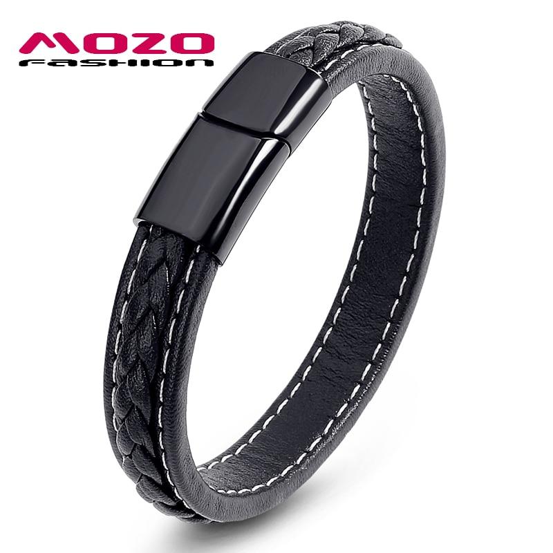 MOZO FASHION Pria Hitam Kulit Gelang Stainless Steel Magnetic Buckle - Perhiasan fashion - Foto 1