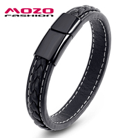 Newest 2016 Men Black Leather Bracelet Stainless Steel Magnetic Buckle Bracelets Bangles Male Punk Jewelry Pulseras