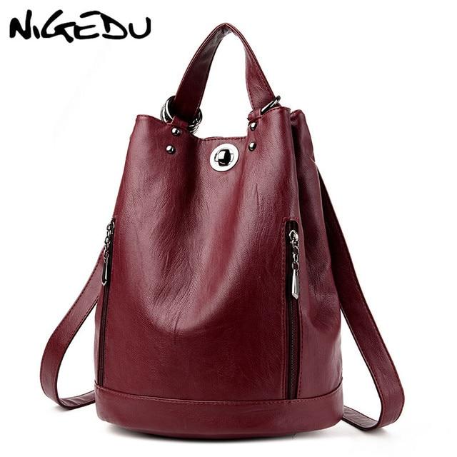 a937c417704e Fashion Women Backpack PU Leather Women s Bucket Shoulder bag Female Travel  Bag Back Pack multifunctional backpack