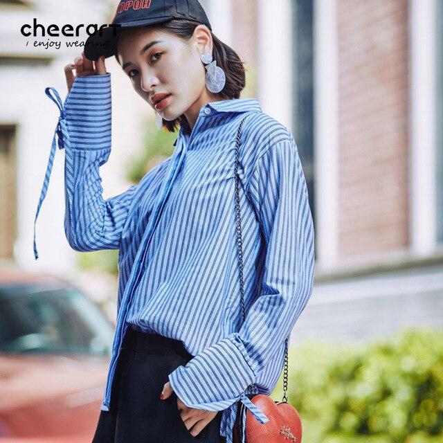 ea814c680e71 Cheerart Autumn 2017 Blue Striped Shirt Women Flare Tie Long Sleeve Blouse  Loose Korean Tops Fashion Clothing Femme