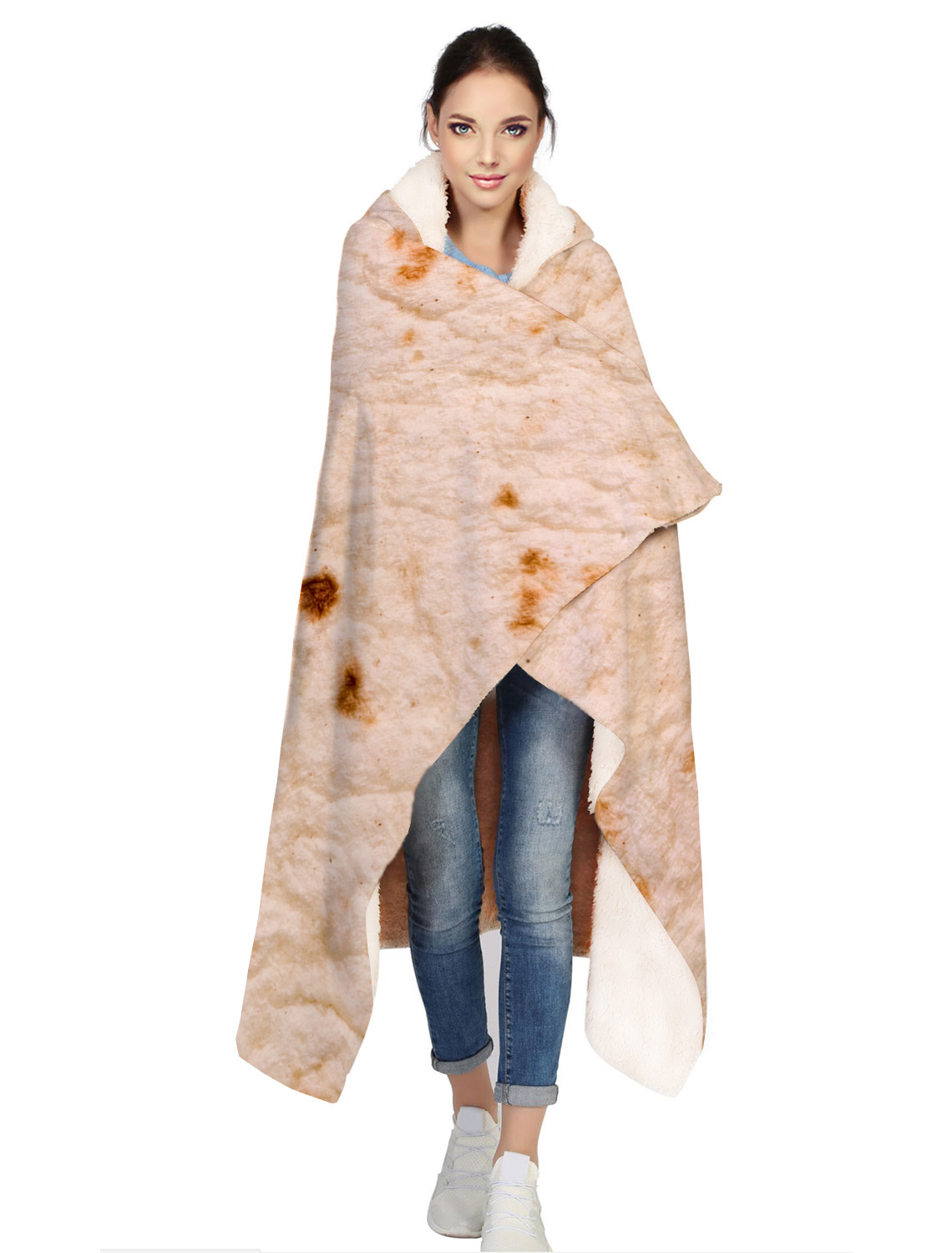 Tortilla Texture Soft Fleece Throw Hooded Blanket Soft Printing Family Car and Sofa Office Quilts Tortilla