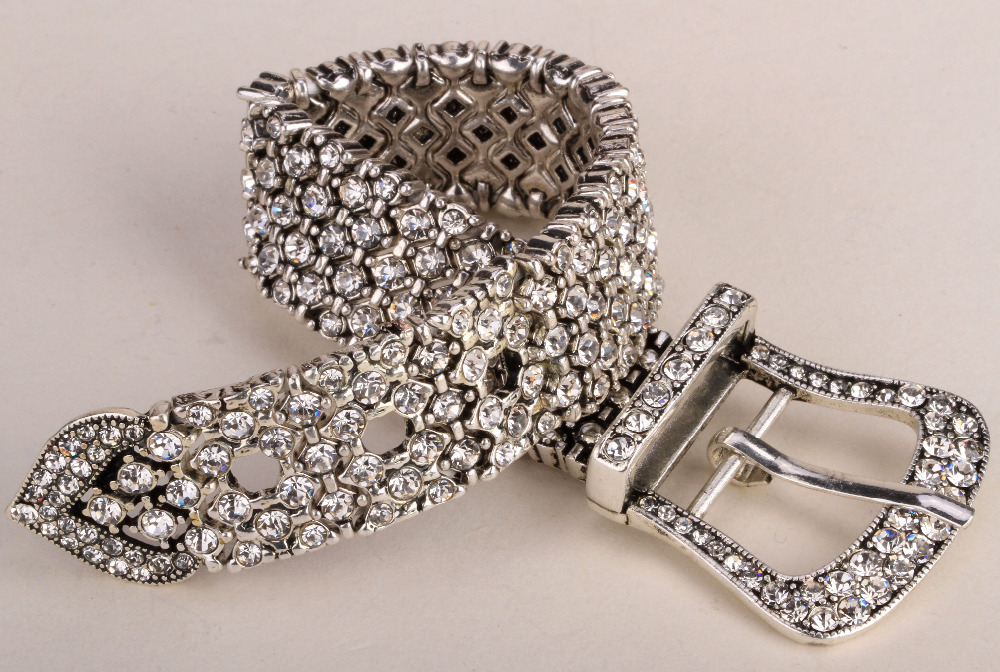 Belt buckle stretch chain link bracelet women bling for Bling jewelry coupon code