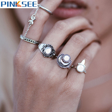 5pcs/Set Vintage Punk Ring Set Hollow Antique Silver Plated Stack Plain midi Rings Women Boho Beach Jewelry Natural Stone