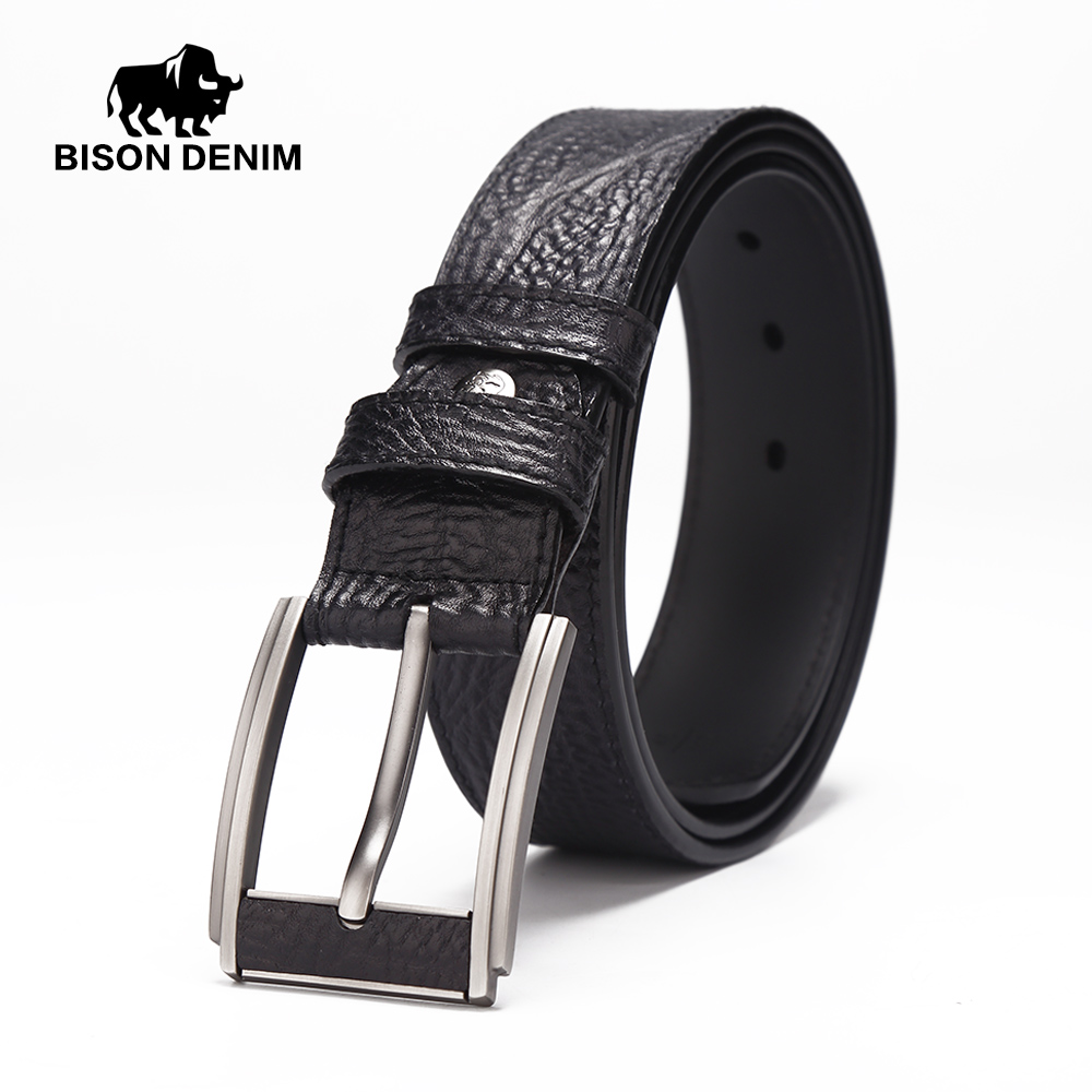 BISON DENIM genuine leather belts for men brand male pin buckle jeans cowboy Mens Belt Luxury
