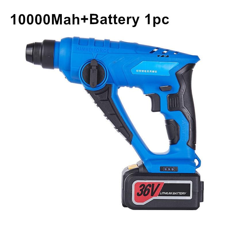 36v 10000mah martillo eléctrico inalámbrico taladro de impacto taladro de batería de litio herramientas eléctricas recargables multifunción batería 1pc