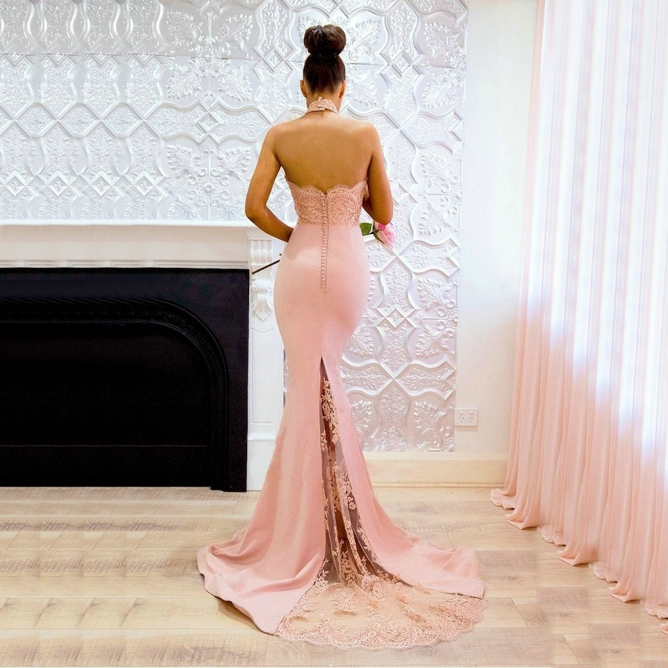 Pink Fish Tail Halter-Neck Satin Gown