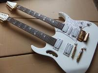 Wholesale double neck Electric Guitar 6+12 string mahogany body/neck in white 100823