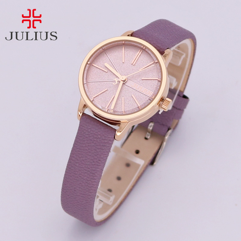 New Women's Watch Japan Quartz Hours Simple Fine Fashion Dress Leather Bracelet Girl Retro Birthday Gift Julius  944 new simple cutting glass women s watch japan quartz hours fashion dress stainless steel bracelet birthday girl gift julius box