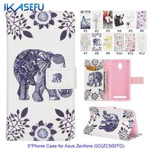 IKASEFU Cartoon PU Leather 5″ Mobile Phone Case for Asus Zenfone Go ZC500TG Magnetic Card Holder Stand Wallet Flip Cover