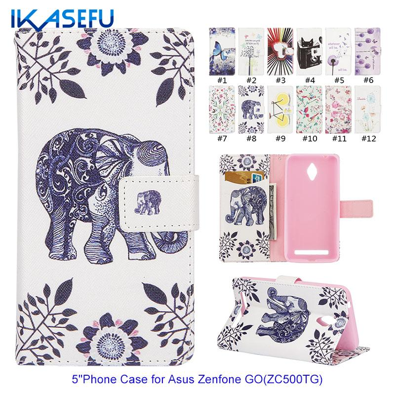 IKASEFU font b Cartoon b font PU Leather 5 Mobile Phone Case for Asus Zenfone Go