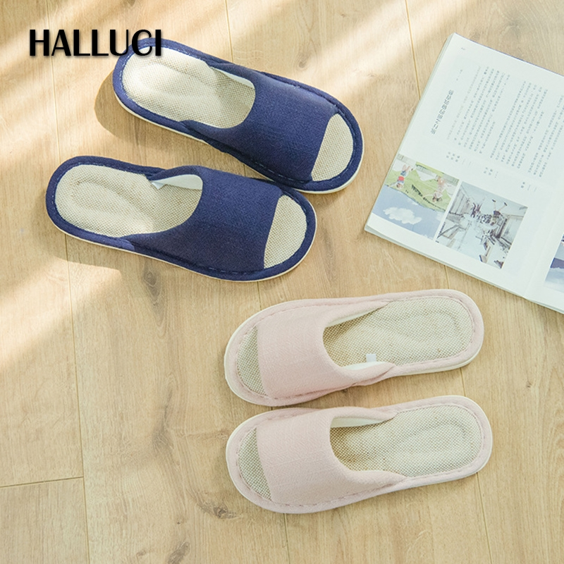 HALLUCI  Peep-toe pantufa linen home slippers women shoes mules zapatos mujer couples slides bulk platform shoes chinelo terlik halluci breathable sweet cotton candy color home slippers women shoes princess pink slides flip flops mules bedroom slippers