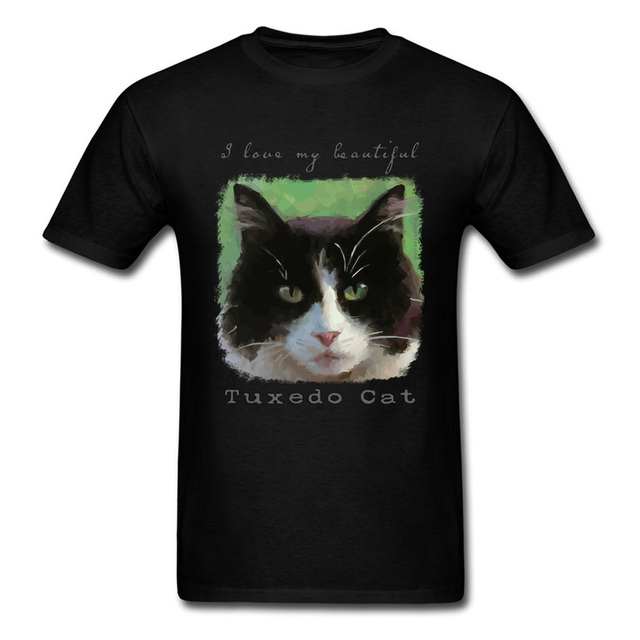 780cdabd5 Cat Lover T-shirt Men Black T Shirt Cotton Tops Tees I Love My Beautiful  Tuxedo Cat Funny Animal Print Tshirt Hip Hop Clothes