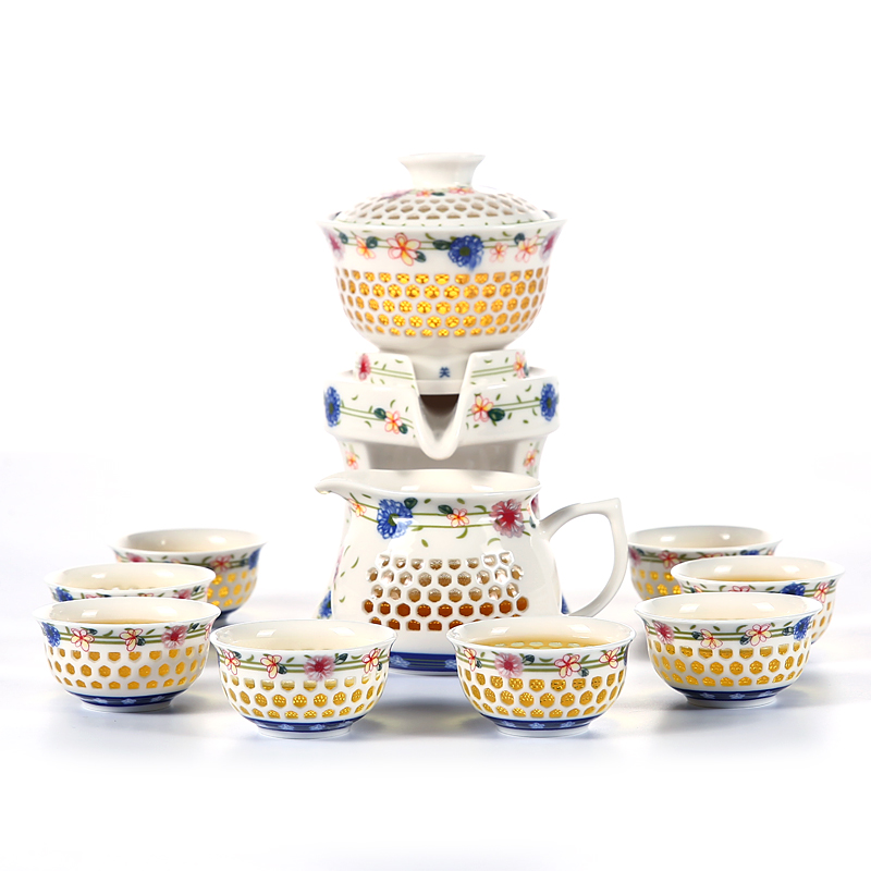 Изысканный Пион Автоматический чайный набор синий и белый керамический фарфоровый полый вафельный кунг-фу чайный горшок чайная чашка Gaiwan ч...