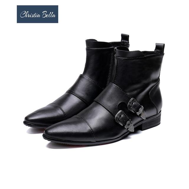 Christia Bella Winter Autumn Fashion Buckle Men Genuine Leather Boots Plus Size Pointed Toe Cowboy Ankle Boots Men Dress Shoes