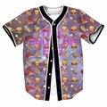 Emoji humburger de alimentos de pizza nos botões de tamanho jérseis de basebol new hip hop streetwear homme camisa 3d marca clothing